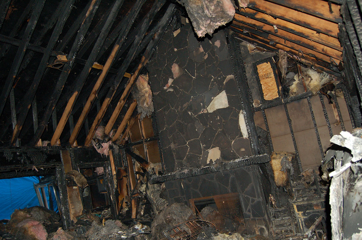 inside house with fire damage